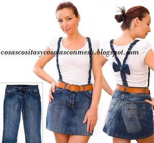 Оригинальная юбка из старых джинсов