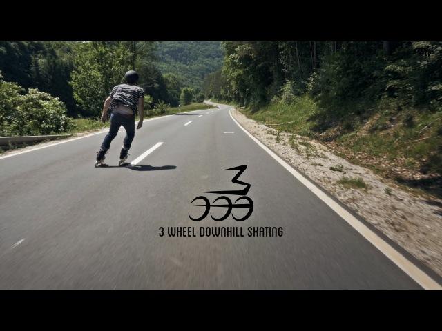 Fast Downhill Skating on 3 wheel inline skates - Powerslide TRISKATING Inlineskates