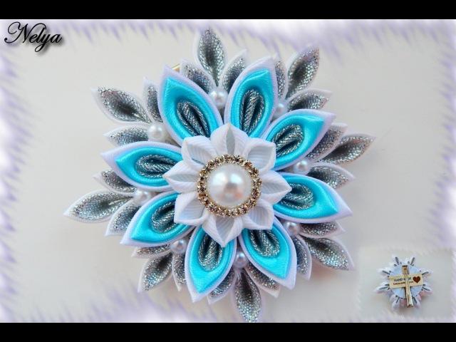 НОВОГОДНЯЯ СНЕЖИНКА КАНЗАШИ, МК / DIY Kanzashi Christmas Snowflake