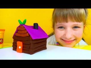 Play Doh Log Cabin House Baba-Yaga Плей До Пластилин Лепим домик Бабы Яги