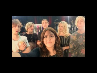 """""""Hanging out with @officialr5 today! The saying #SometimeLastNight has never been more appropriate! #R5Family"""""""