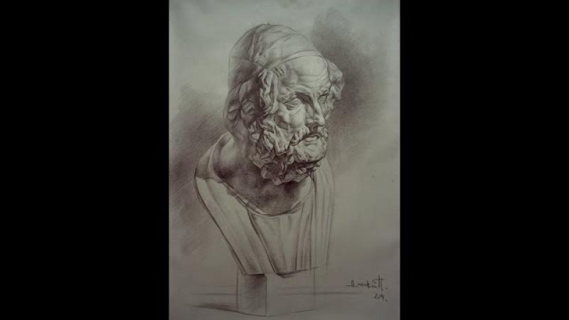 Павел Дольский - Мастер-класс. Master-Class Рисунок гипсовой головы, Гомера. 2004