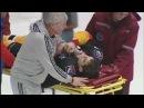 Николай Стаcенко получает серьезную травму после попадания шайбы в лицо