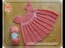 Детское платье крючком с круглой кокеткой. Crochet baby dress