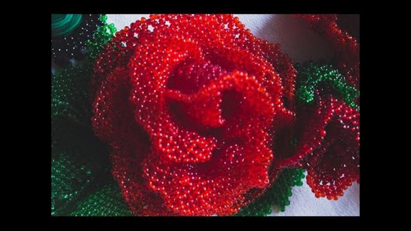 роза в технике ажурного плетения