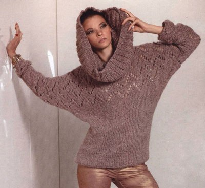Пуловер с ажурным узором и снуд спицами… (2 фото) - картинка