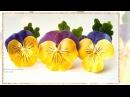 Канзаши Как сделать цветок анютины глазки