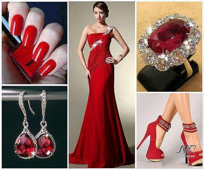 Вечерний маникюр для красного платья фото