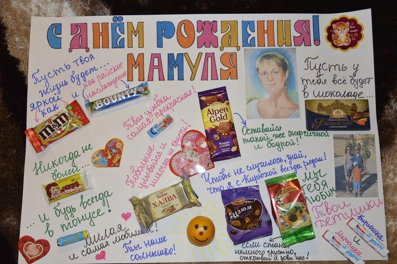 Плакат на день рождения с шоколадками своими