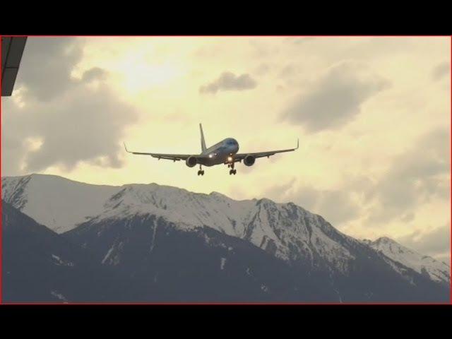 Cross wind landing LOWI / Innsbruck and go around