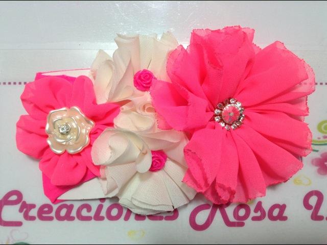 Flores de tela en tiara Creaciones Rosa Isela VIDEO No. 236