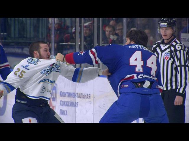 Бои КХЛ Артюхин против Рыспаева KHL Fights Artyukhin VS Ryspayev