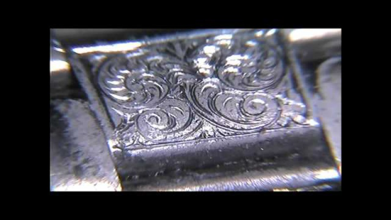 Hand Engraved Omega Watch Bracelet English Small Scrollwork by Shaun Hughes