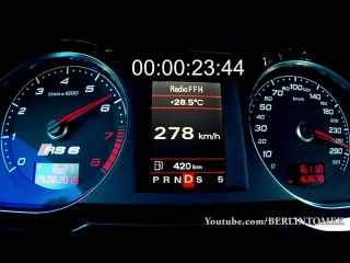Audi RS6 V10 0-340 Acceleration MTM Onboard Sound Autobahn RS6 R A6 C6