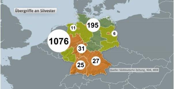 Германская полиция: на женщин нападали в 12 землях Германии
