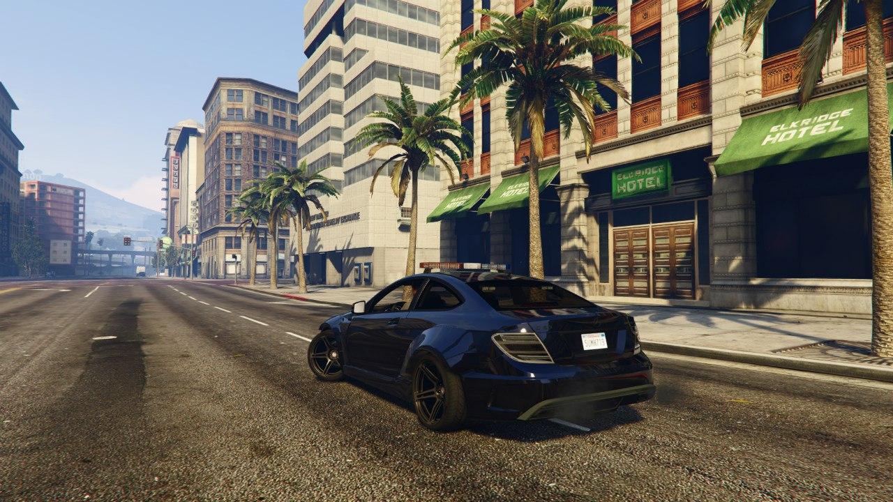 Black Rocket Bunny C63 AMG Police 1.1 для GTA V - Скриншот 1