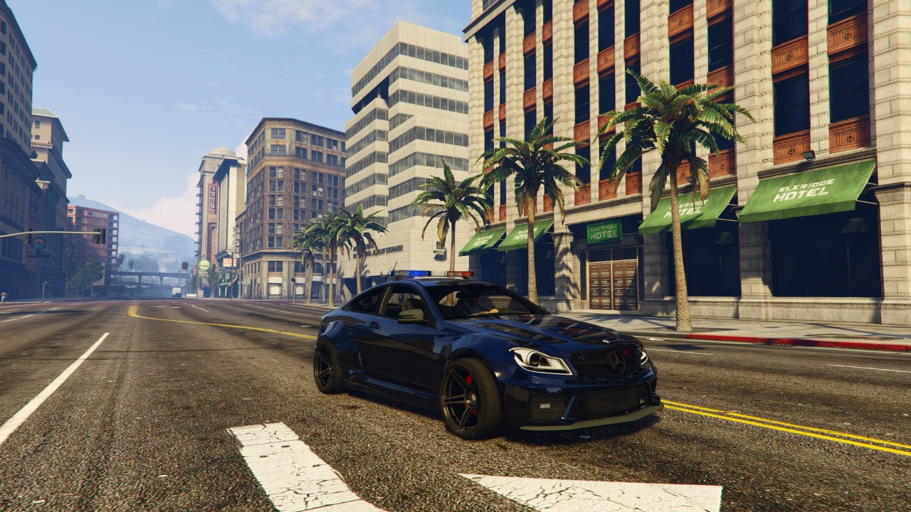 Black Rocket Bunny C63 AMG Police 1.1 для GTA V - Скриншот 3