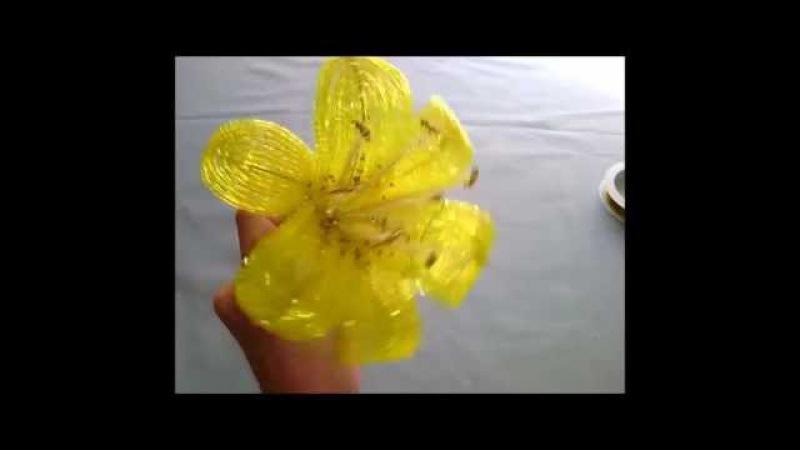 Жёлтая лилия из бисера.Часть 1 - Узкие лепестки.