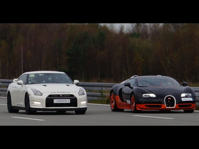 4k RACE Nissan GTR Alpha 12 vs Bugatti Veyron Vitesse 1200 HP Highspeed Oval SHORT VERSION 7 min