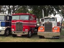 Classic Peterbilt Kenworth Mack Trucks Leaving Brooks Truck Show 2015