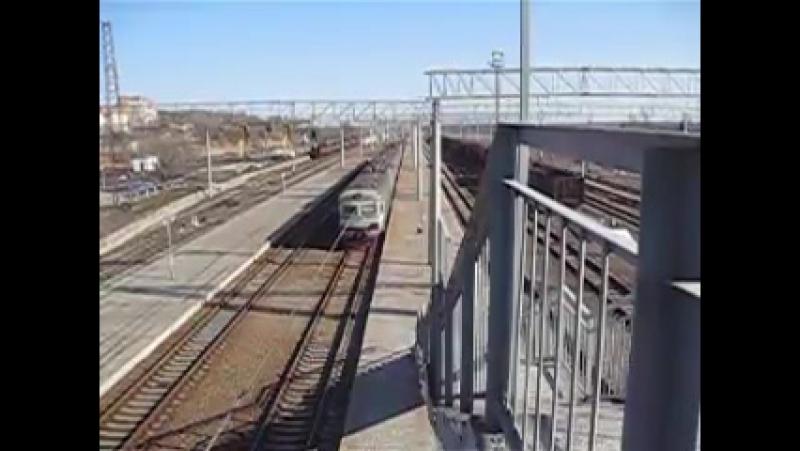 Електропоезд ЕР9м-523 Полтава-Лозовая, отправление с ст.Красноград