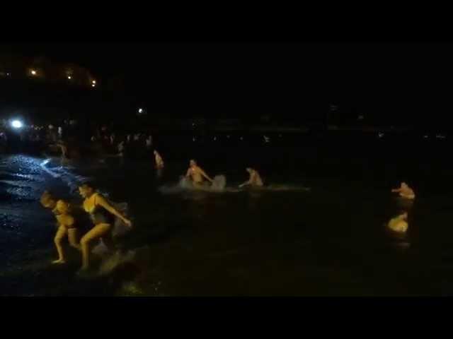 Крещенские купания в Анапе 2015 на море пляж Малая Бухта www.welcometoanapa.ru