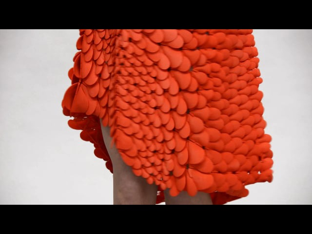 Kinematic Petals Dress - 3D-printed gown in motion