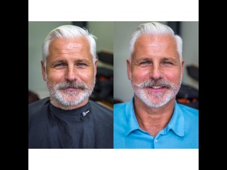 How To Cut and Style a Side Parted Slick Back Disconnection, inc beard trim and moustache shape (13)