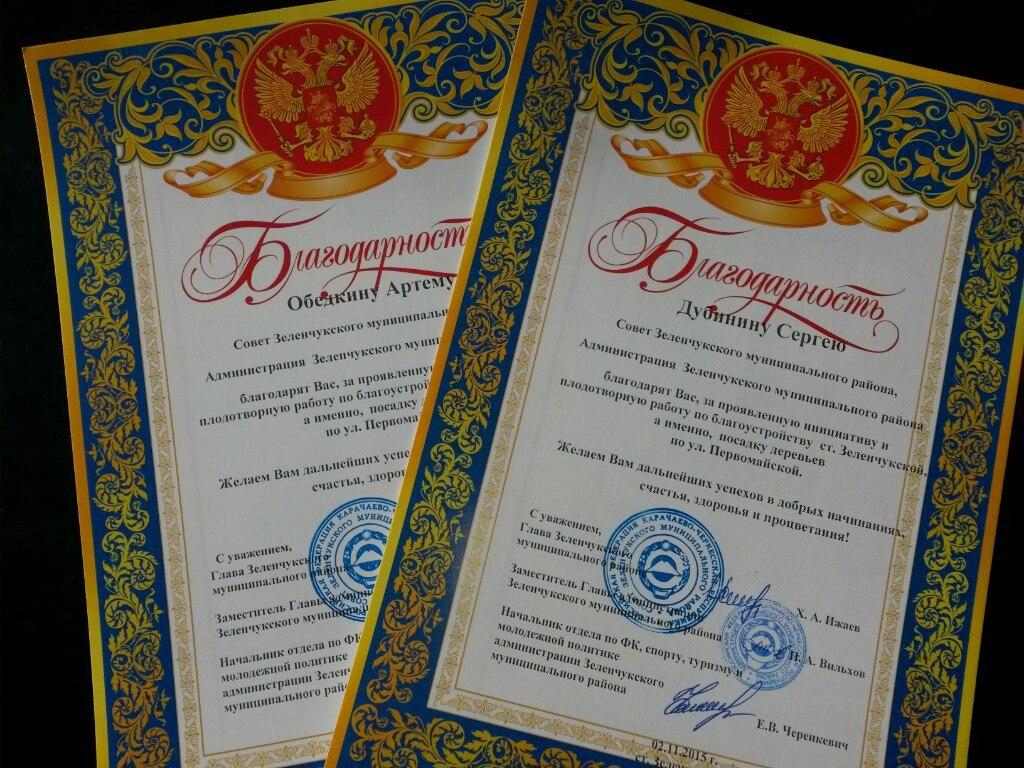 Жители станицы Зеленчукской высадившие аллею березок на улице Первомайская получили благодарственные грамоты