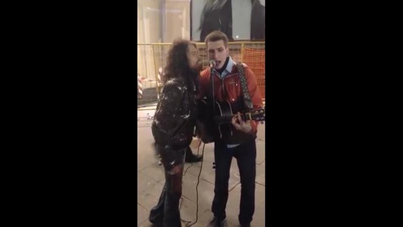 Стивен Тайлер, лидер Aerosmith, гулял по столице, встретил уличного музыканта и спел с ним дуэтом свой хит!