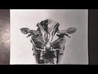 Kawasaki H2 - Charcoal & Graphite Drawing