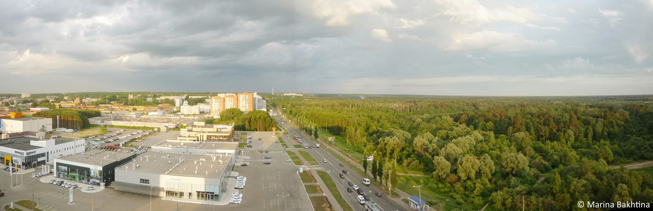 Line between grey and green in Yoshkar-Ola, Russia