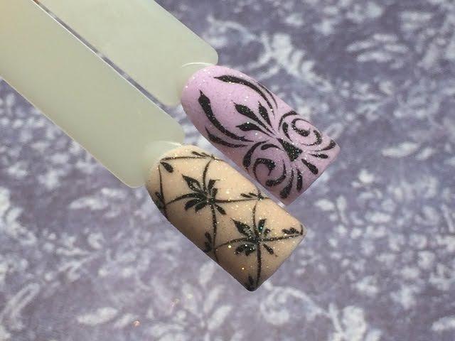 Вензеля Новогодний сверкающий дизайн ногтей Акриловая пудра и гель краска olesyages