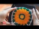 Cuadrado a crochet con flor para colchas y bolsos tejidos paso a paso