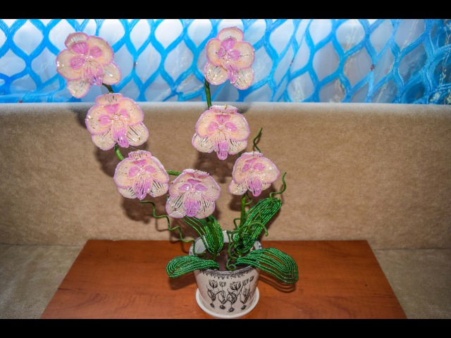 Персиковая орхидея из бисера Мастер класс Вторая часть