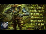 Micro!Ice Earth Spirit Full Video Gameplay 6.86 (Boosting how to play mid laine on 2.5k mmr)