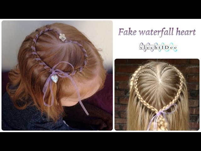 Fake waterfall heart hairstyle - Faux waterval hart creatie