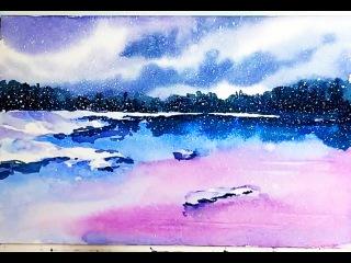 Акварель - Зимний пейзаж у озера (набросок) скоростная живопись