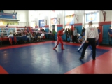 Мой первый бой по кикбоксингу))) Я в красном))))