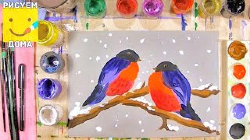 Как нарисовать снегирей - урок рисования для детей от 5 лет, рисуем дома поэтапно