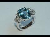 Белое золото, аквамарины и бриллианты - кольцо процесс работы ювелир