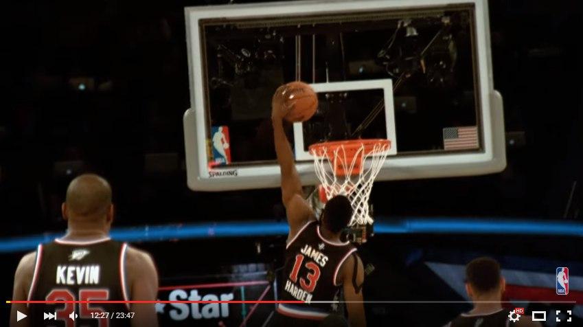 Джеймс Харден слэм данк на Матче Всех Звезд НБА 2015