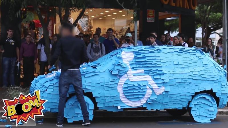 PEGADINHA Vaga Para Deficiente 2 - Post It ( handicapped parking Prank)