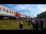 Пожар в электричке московского направления. 19.06.2015. 07:45