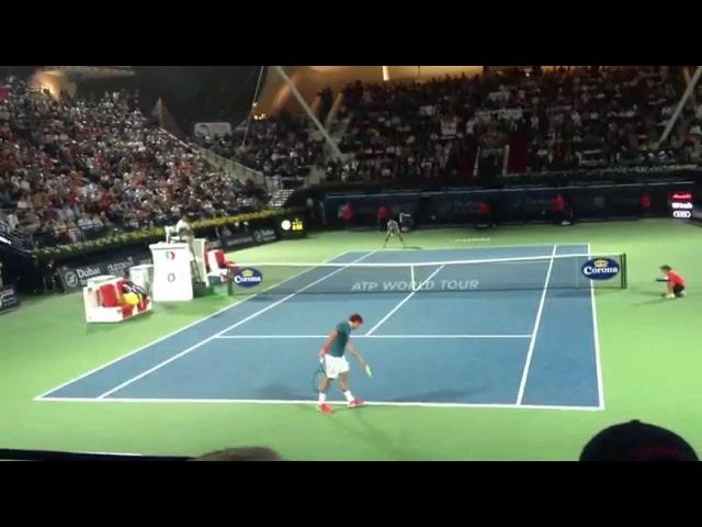 Roger Federer v/s Novak Djokovic Dubai Duty Free Tennis Championships 2014 (low angle)
