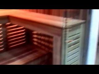 Оригинальная сауна со стеклянной стеной