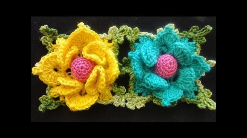 Объёмный цветок в квадрате Volumetric flower squared Crocheting