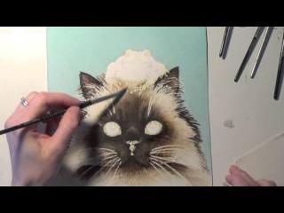 Акварельный рисунок. Выбор сюжета, фотографии с котом, эскиз. Все этапы автор демонстрирует в этом видео. Tracy Lizotte