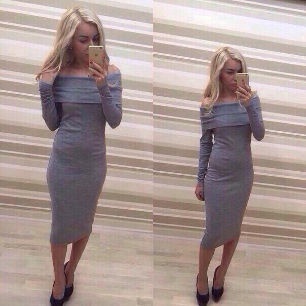 Трикотажное Платье С Открытыми Плечами Купить