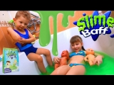 Squishy Slime Baff Bath Ванная Лизун Купаемся в слизи с Даней и куклами